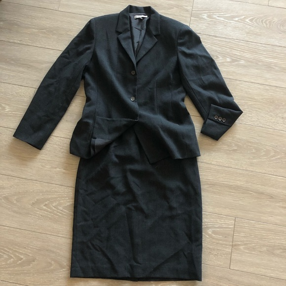 Anne Klein Jackets & Blazers - Anne Klein Blazer Skirt Suit Charcoal Wool
